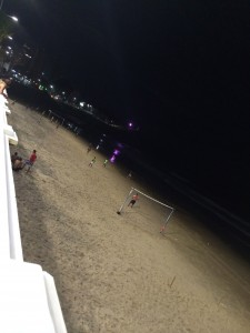 Night time beach soccer, Salvador