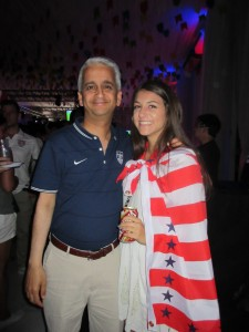 Carlie with Sunil Gulati, President of the U.S. Soccer Federation, at the Supporters Party.