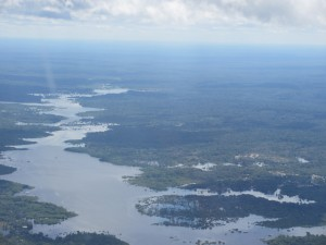 Descent into Manaus - first glimpse of river.