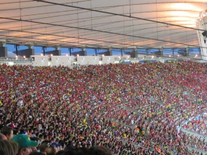 The sea of red, mixed in with some Brazilian yellow.