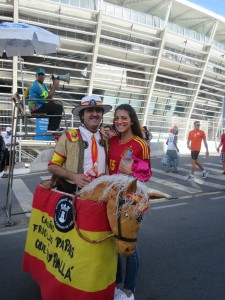Equal time with a decked out Spain supporter. My next Halloween costume?