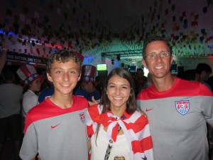 "Carlie with Dallas (L) and Steve (R) Fox at the U.S. Soccer ""Night Before"" party."