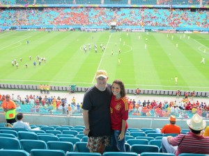 Jeff & Carlie before the Spain vs. Holland kick-off
