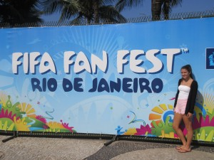 Carlie outside the FIFA Fan Fest entrance (Copacabana Beach)