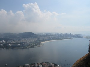 View from the top of Sugar Loaf, across the bay to Copacabana Beach