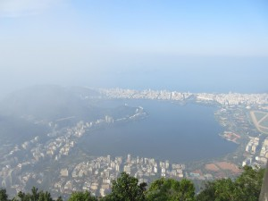 Cloudy below, but sunny up on Corcovado
